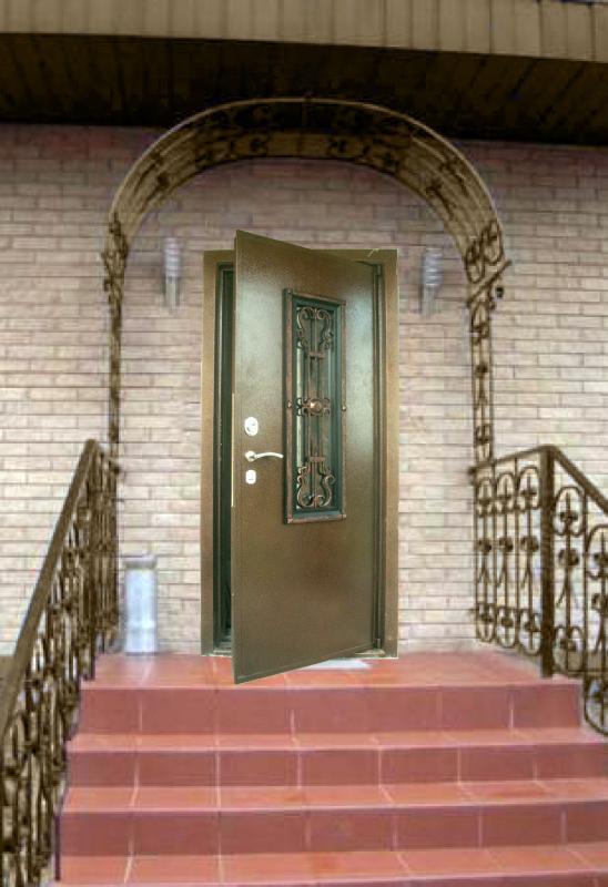дверь входная с ковкой в дом