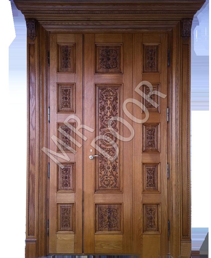 двухстворчатые входные дубовые двери с резьбой
