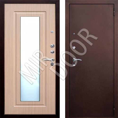 двери входная с зеркалом беленый дуб