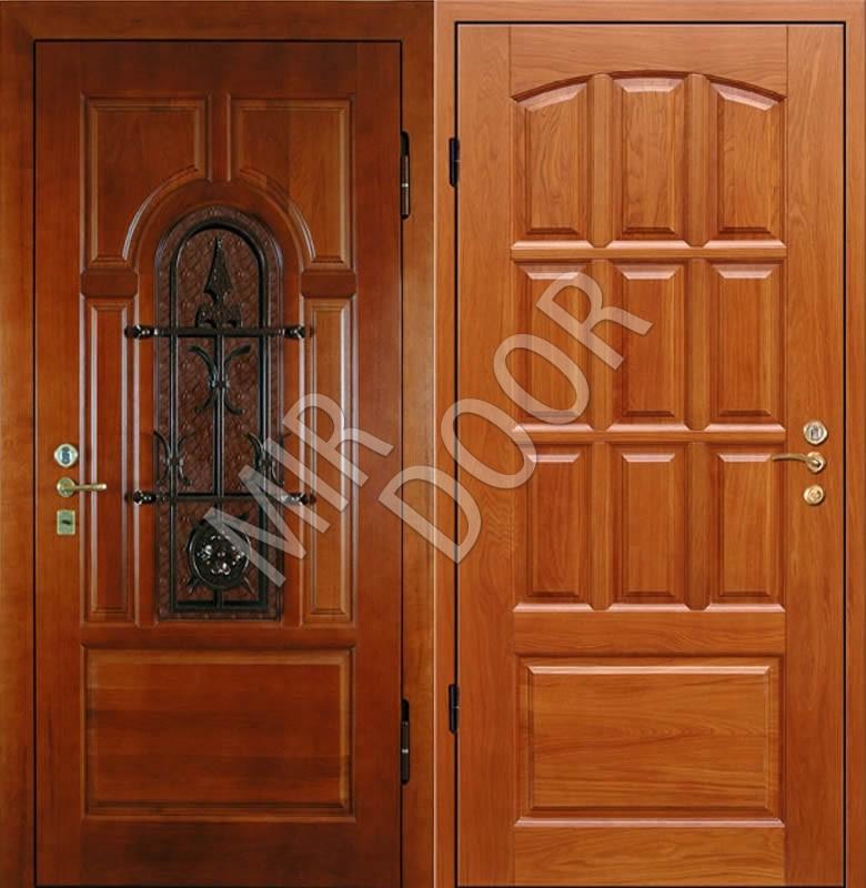 металлические входные двери с отделкой дуба